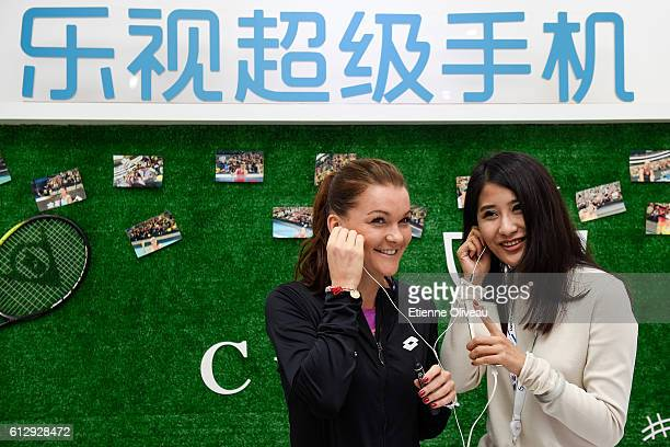 Agnieszka Radwanska of Poland attends an event at the LeMobile booth on day six of the 2016 China Open at the China National Tennis Centre on October...