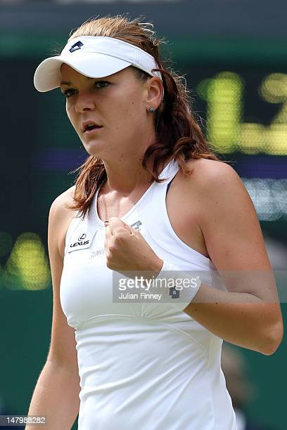 Agnieszka Radwanska of Poland celebrates a point during her Ladies' Singles final match against Serena Williams of the USA on day twelve of the...