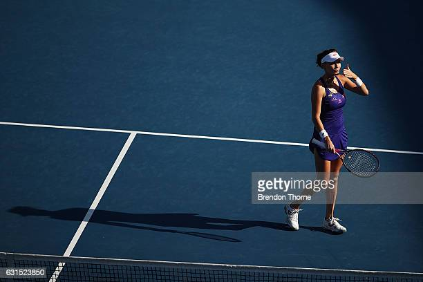Agnieszka Radwanska of Poland celebrates after victory in her semi final match against Barbora Strycova of the Czech Republic during day five of the...