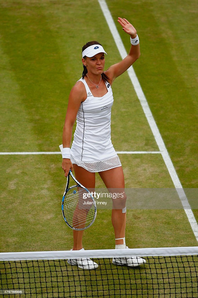 Agnieszka Radwanska of Poland celebrates after winning her Ladies Singles Quarter Final match against Madison Keys of the United States during day eight of the Wimbledon Lawn Tennis Championships at the All England Lawn Tennis and Croquet Club on July 7, 2015 in London, England.