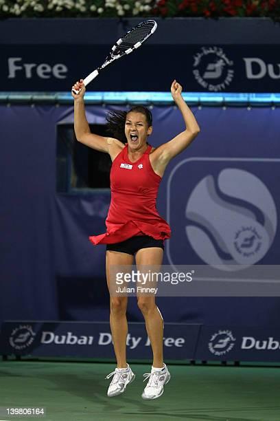 Agnieszka Radwanska of Poland celebrates defeating Julia Goerges of Germany in the final during day six of the WTA Dubai Duty Free Tennis...