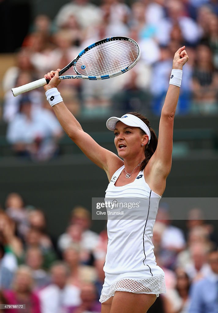 Agnieszka Radwanska of Poland celebrates match point during her Ladies Singles Quarter Final match against Madison Keys of the United States during day eight of the Wimbledon Lawn Tennis Championships at the All England Lawn Tennis and Croquet Club on July 7, 2015 in London, England.
