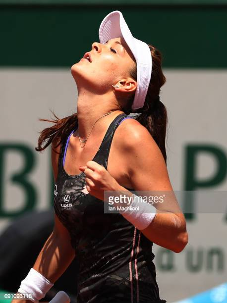 Agnieszka Radwanska of Poland celebrates victory during her match with Alison Van Uytvanck of Belgium on Day Five at Roland Garros on June 1 2017 in...