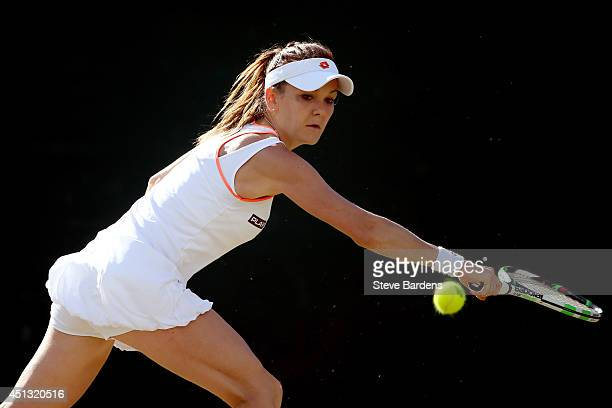 Agnieszka Radwanska of Poland during her Ladies' Singles third round match against Michelle Larcher De Brito of Portugal on day five of the Wimbledon...