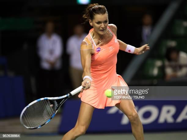 Agnieszka Radwanska of Poland during the quarter finals of the Toray Pan Pacific Open tennis championships in Tokyo on September 23 2016 Radwanska...