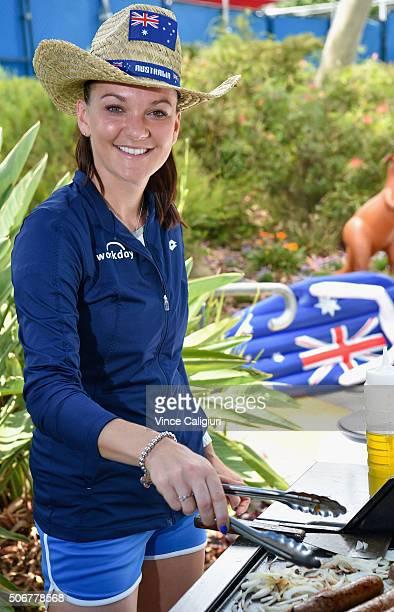 Agnieszka Radwanska of Poland helps cook an Australian inspired BBQ on Australia Day during day nine of the 2016 Australian Open at Melbourne Park on...