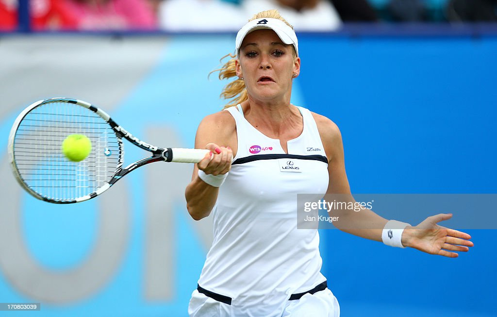 Agnieszka Radwanska of Poland hits a forehand during her match against Jamie Hampton of USA during day four of the AEGON International tennis tournament at Devonshire Park on June 18, 2013 in Eastbourne, England.