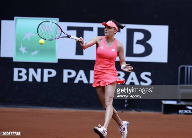 Agnieszka Radwanska of Poland in action against Donna Vekic of Croatia during the TEB BNP Paribas Istanbul Cup tennis match at the Garanti Koza Park...