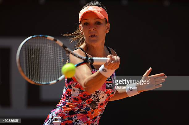 Agnieszka Radwanska of Poland in action against Paula Ormaechea of Argentina during day 4 of the Internazionali BNL d'Italia 2014 on May 14 2014 in...