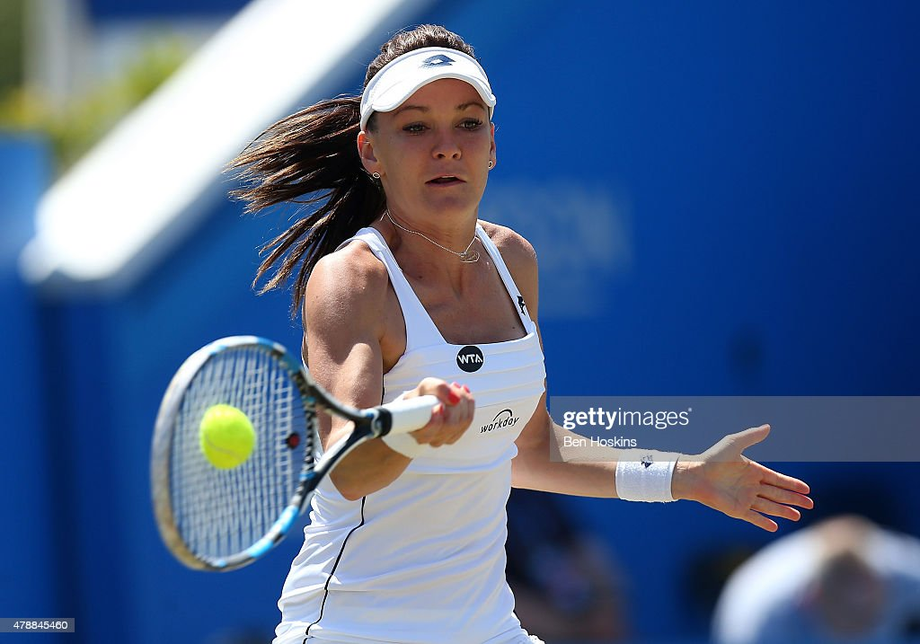Agnieszka Radwanska of Poland in action during her match against Belinda Bencic on day seven of the Aegon International at Devonshire Park on June 27, 2015 in Eastbourne, England.