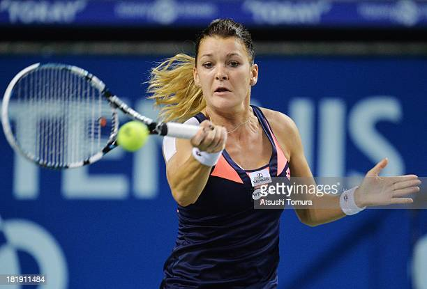Agnieszka Radwanska of Poland in action during her women's singles quarter final match against Angelique Kerber of Germany during day five of the...