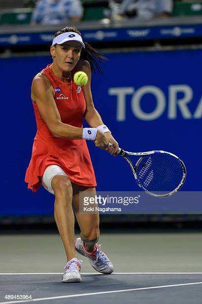 Agnieszka Radwanska of Poland in action during her women's singles match against Coco Vandeweghe of the United States during day one of the Toray Pan...