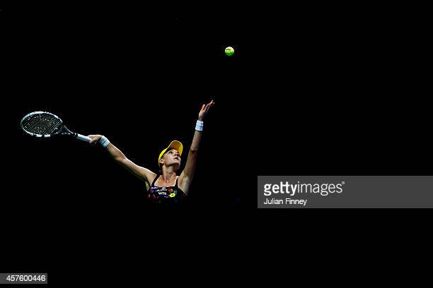 Agnieszka Radwanska of Poland in action in her match against Petra Kvitova of Czech Republic during day two of the BNP Paribas WTA Finals tennis at...