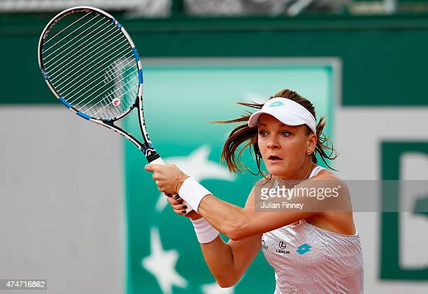 Agnieszka Radwanska of Poland in action in her Women's Singles match against Annika Beck of Germany on day two of the 2015 French Open at Roland...