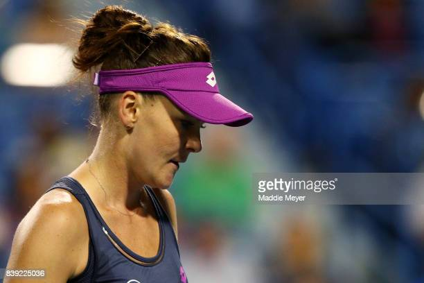 Agnieszka Radwanska of Poland looks on during her match against Daria Gavrilova of Australia during Day 7 of the Connecticut Open at Connecticut...