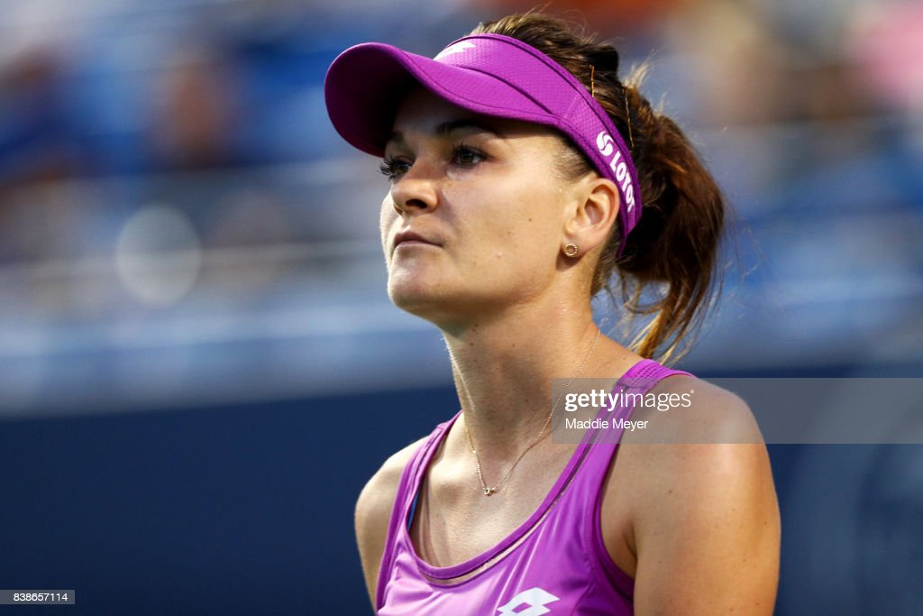 Agnieszka Radwanska of Poland looks on during her match against Shuai Peng of China on Day 7 of the Connecticut Open at Connecticut Tennis Center at Yale on August 24, 2017 in New Haven, Connecticut.