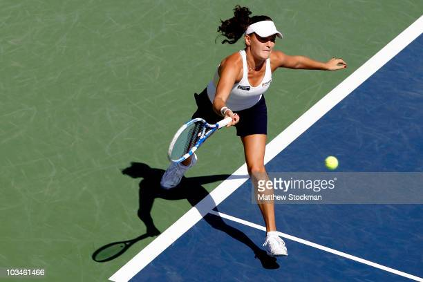 Agnieszka Radwanska of Poland lunges for a shot while playing Svetlana Kuznetsova of Russia during the Rogers Cup at Stade Uniprix on August 19, 2010...