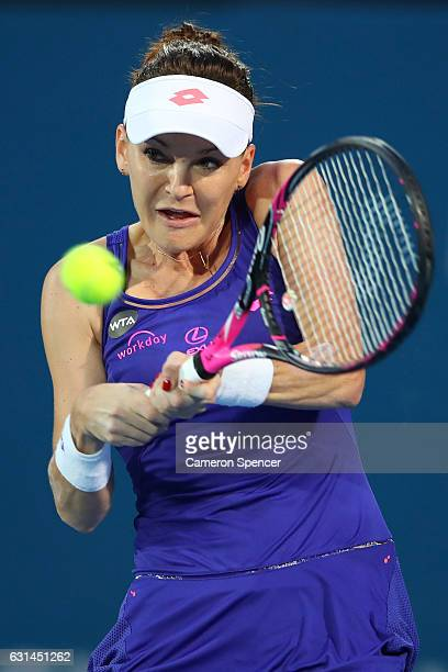 Agnieszka Radwanska of Poland plays a backhand during her womens singles match against YingYing Duan of China during day four of the 2017 Sydney...