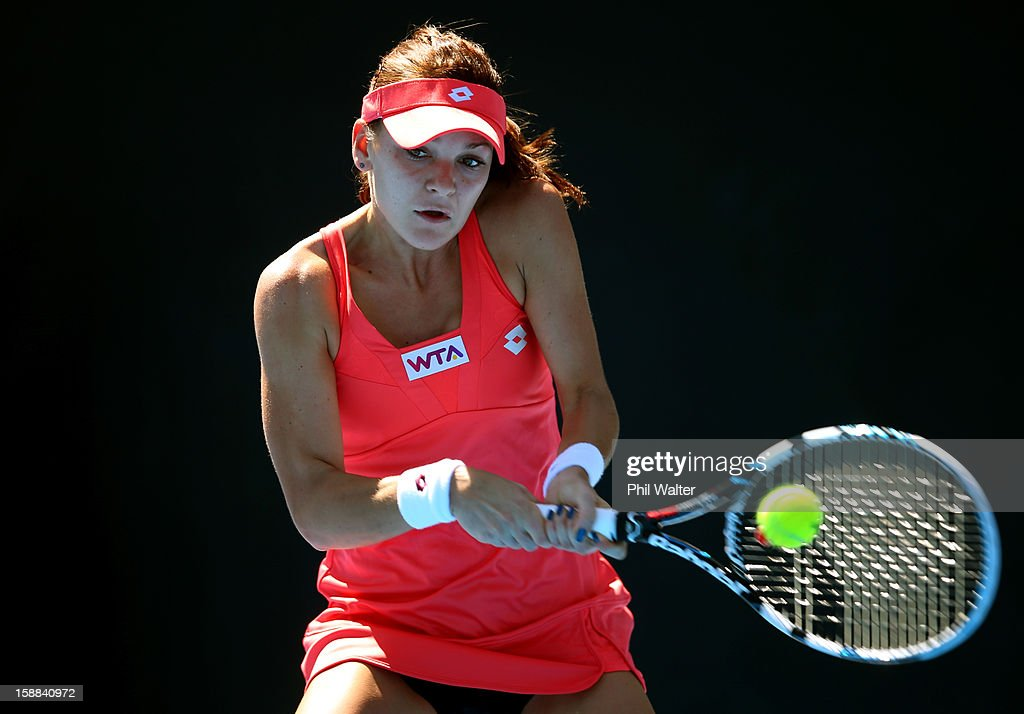 Agnieszka Radwanska of Poland plays a backhand in her first round match against Greta Arn of Hungary during day two of the 2013 ASB Classic on January 1, 2013 in Auckland, New Zealand.