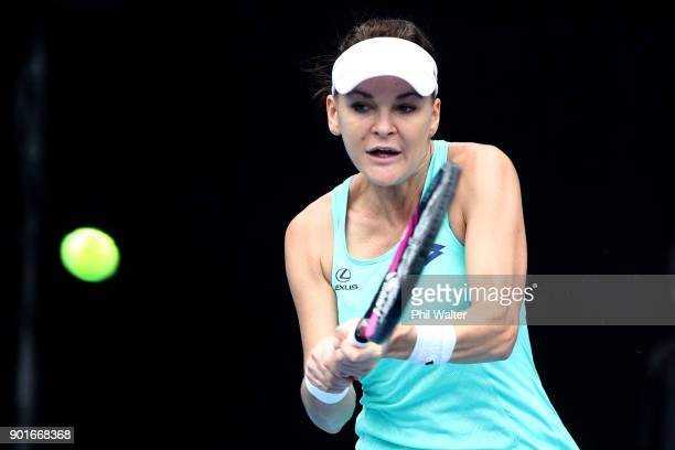 Agnieszka Radwanska of Poland plays a backhand in her quarter final match against Sachia Vickery of the USA during day six of the ASB Women's Classic...