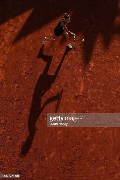 Agnieszka Radwanska of Poland plays a forehand during the ladies singles first round match against Fiona Ferro of France on day three of the 2017...