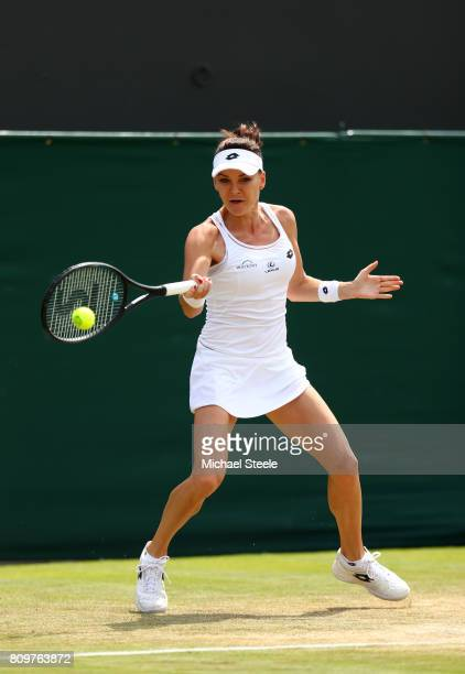 Agnieszka Radwanska of Poland plays a forehand during the Ladies Singles second round match against Christina McHale of The United States on day four...