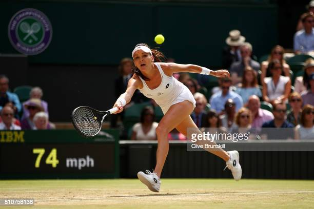 Agnieszka Radwanska of Poland plays a forehand during the Ladies Singles third round match against Timea Bacsinszky of Switzerland on day six of the...