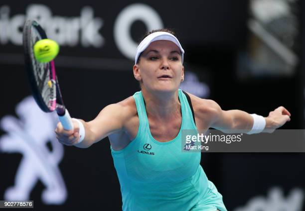 Agnieszka Radwanska of Poland plays a forehand in her 1st round match against Johanna Konta of Great Britain during day three of the 2018 Sydney...