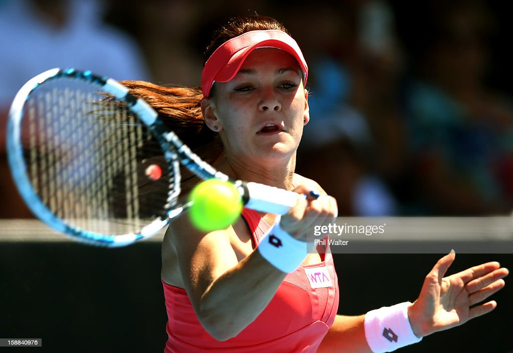 Agnieszka Radwanska of Poland plays a forehand in her first round match against Greta Arn of Hungary during day two of the 2013 ASB Classic on January 1, 2013 in Auckland, New Zealand.
