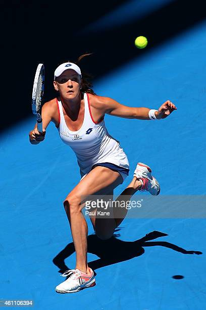 Agnieszka Radwanska of Poland plays a forehand in her match against Heather Watson of Great Britain during day four of the 2015 Hopman Cup at Perth...