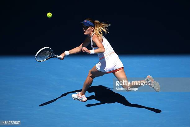 Agnieszka Radwanska of Poland plays a forehand in her quarterfinal match against Victoria Azarenka of Belarus during day 10 of the 2014 Australian...