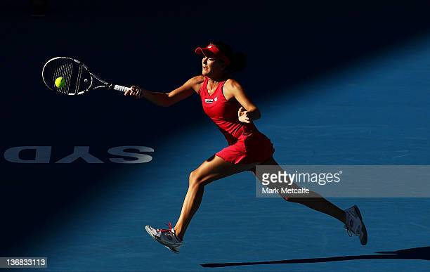Agnieszka Radwanska of Poland plays a forehand in her semi final match against Victoria Azarenka of Belarus during day five of the 2012 Sydney...