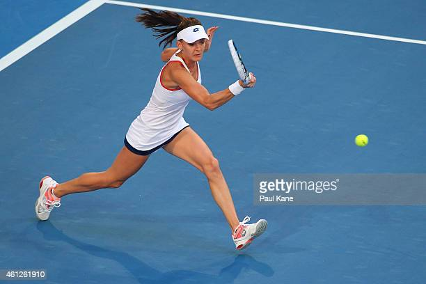 Agnieszka Radwanska of Poland plays a forehand in the womens singles final Serena Williams of the United States during day seven of the 2015 Hopman...