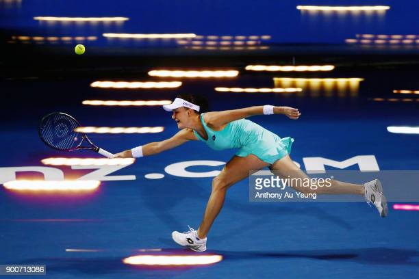 Agnieszka Radwanska of Poland plays a shot in her match against Taylor Townsend of USA during day three of the ASB Women's Classic at ASB Tennis...