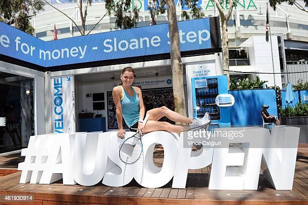 Agnieszka Radwanska of Poland poses on Ausopen hashtag sign during the 2015 Australian Open at Melbourne Park on January 22 2015 in Melbourne...