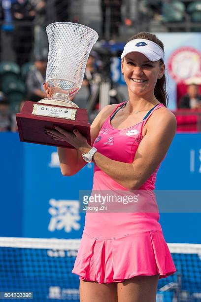 Agnieszka Radwanska of Poland poses with her trophy after winning the singles final match against Alison Riske of the USA during Day 7 of 2016 WTA...