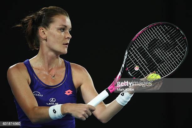 Agnieszka Radwanska of Poland prepares to serve in her first round match against Tsvetana Pironkova of Bulgaria on day two of the 2017 Australian...