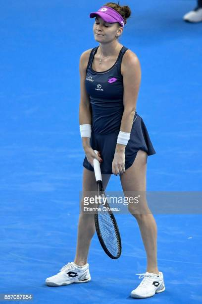 Agnieszka Radwanska of Poland reacts after a shot against Zhang Shuai of China during their Women's single second round match on day four of the 2017...