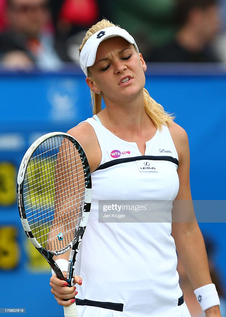Agnieszka Radwanska of Poland reacts during her match against Jamie Hampton of USA during day four of the AEGON International tennis tournament at Devonshire Park on June 18, 2013 in Eastbourne, England.