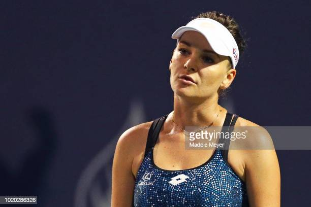Agnieszka Radwanska of Poland reacts during her match against Petra Kvitova of Czech Republic during Day 1 of the Connecticut Open at Connecticut...