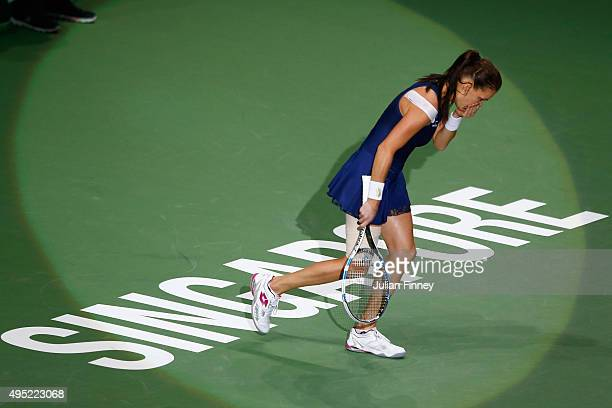Agnieszka Radwanska of Poland reacts to match point at the finals match against Petra Kvitova of Czech Republic during the BNP Paribas WTA Finals at...