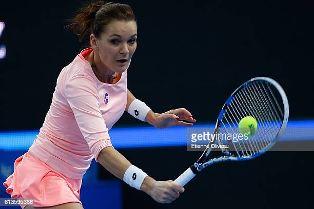 Agnieszka Radwanska of Poland returns a shot against Johanna Konta of Great Britain during Women's Singles final on day nine of the 2016 China Open...