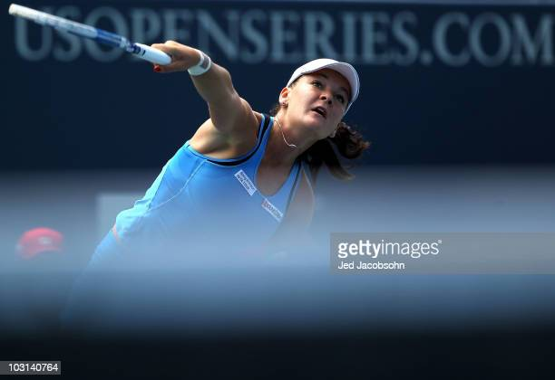 Agnieszka Radwanska of Poland serves against Olga Savchuk of the Ukranie during Day 2 of the Bank of the West Classic at Stanford University on July...
