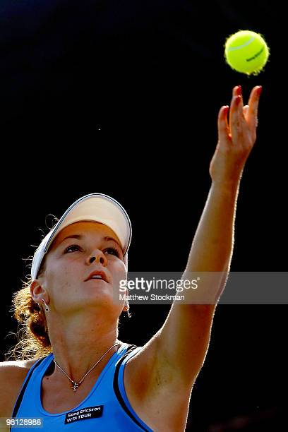 Agnieszka Radwanska of Poland serves against Yaroslava Shvedova of Russia during day seven of the 2010 Sony Ericsson Open at Crandon Park Tennis...