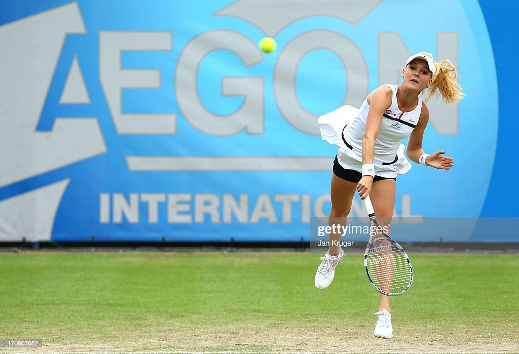 Agnieszka Radwanska of Poland serves during her match against Jamie Hampton of USA during day four of the AEGON International tennis tournament at Devonshire Park on June 18, 2013 in Eastbourne, England.