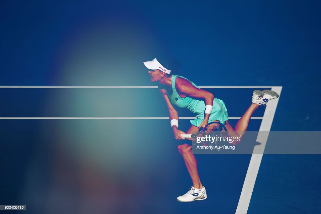 Agnieszka Radwanska of Poland serves in her first round match against Beatriz Haddad Maia of Brazil during day two of the ASB Women's Classic at ASB Tennis Centre on January 2, 2018 in Auckland, New Zealand.
