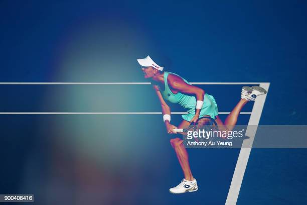 Agnieszka Radwanska of Poland serves in her first round match against Beatriz Haddad Maia of Brazil during day two of the ASB Women's Classic at ASB...