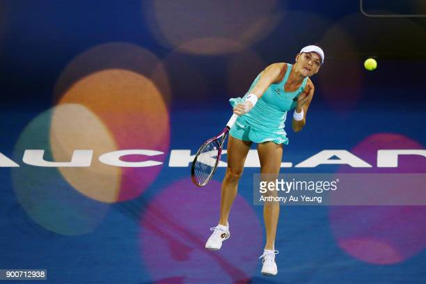 Agnieszka Radwanska of Poland serves in her match against Taylor Townsend of USA during day three of the ASB Women's Classic at ASB Tennis Centre on...