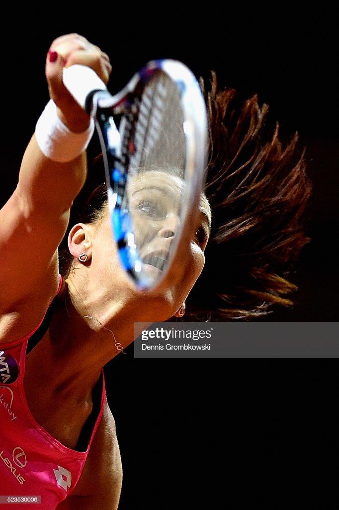 Agnieszka Radwanska of Poland serves in her semi final match against Laura Siegemund of Germany during Day 6 of the Porsche Tennis Grand Prix at Porsche-Arena on April 23, 2016 in Stuttgart, Germany.