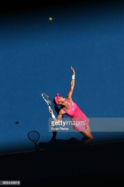 Agnieszka Radwanska of the United States serves in her first round match against Agnieszka Radwanska of Poland during day one of the 2016 Australian...